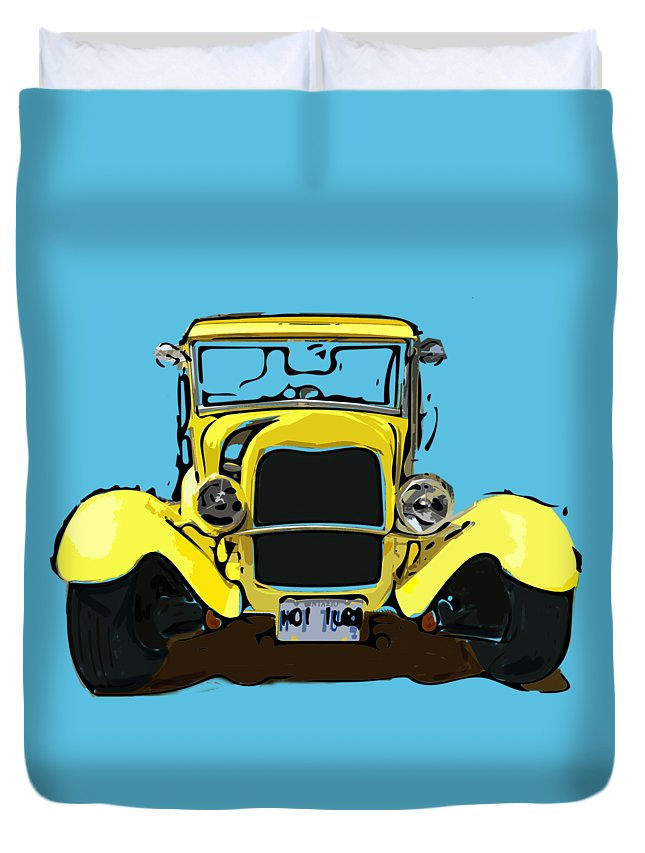 Illustration Duvet Cover featuring the digital art Early 1930s Ford Yellow by Eduardo Tavares