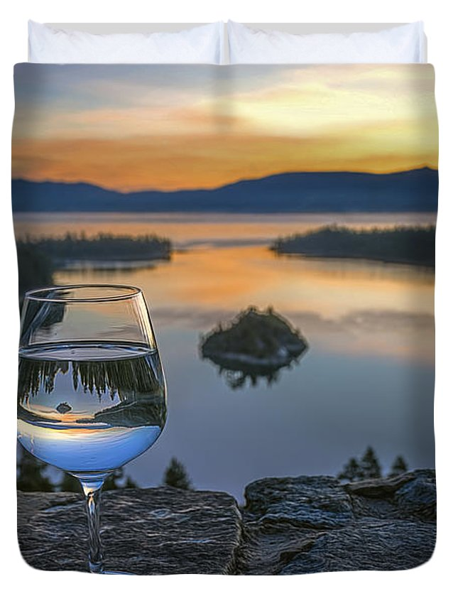 Landscape Duvet Cover featuring the photograph Early Drink by Maria Coulson