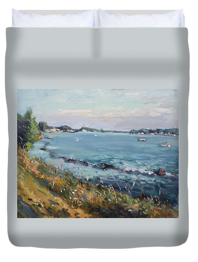 Evening Duvet Cover featuring the painting Early Evening at Gratwick Waterfront Park by Ylli Haruni