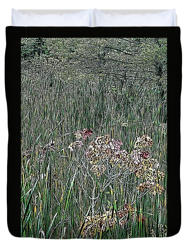 Digital Photograph Duvet Cover featuring the photograph Early Fall Color Woodcut by David Lane