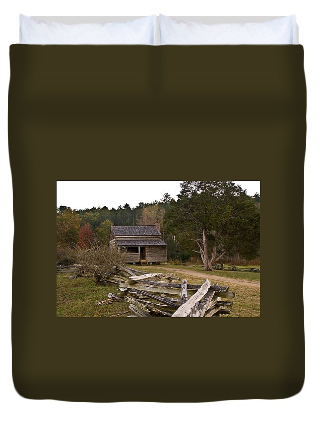 Early Duvet Cover featuring the photograph Early Farm Cabin by Douglas Barnett