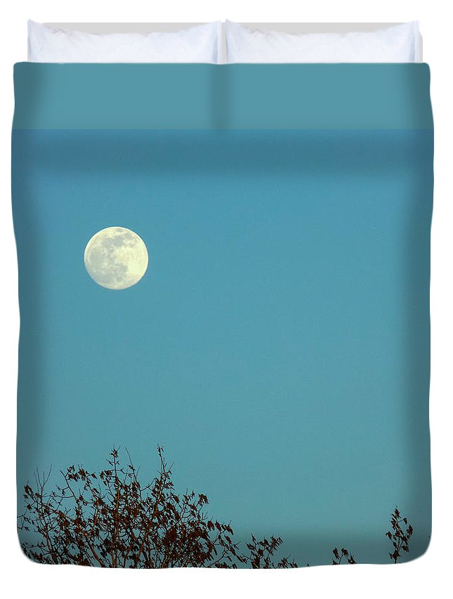 Moon Duvet Cover featuring the photograph Early May Full Moon by William Tasker