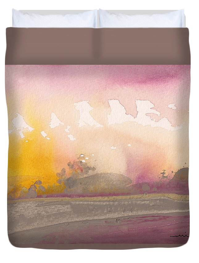 Nature Duvet Cover featuring the painting Early Morning 03 by Miki De Goodaboom
