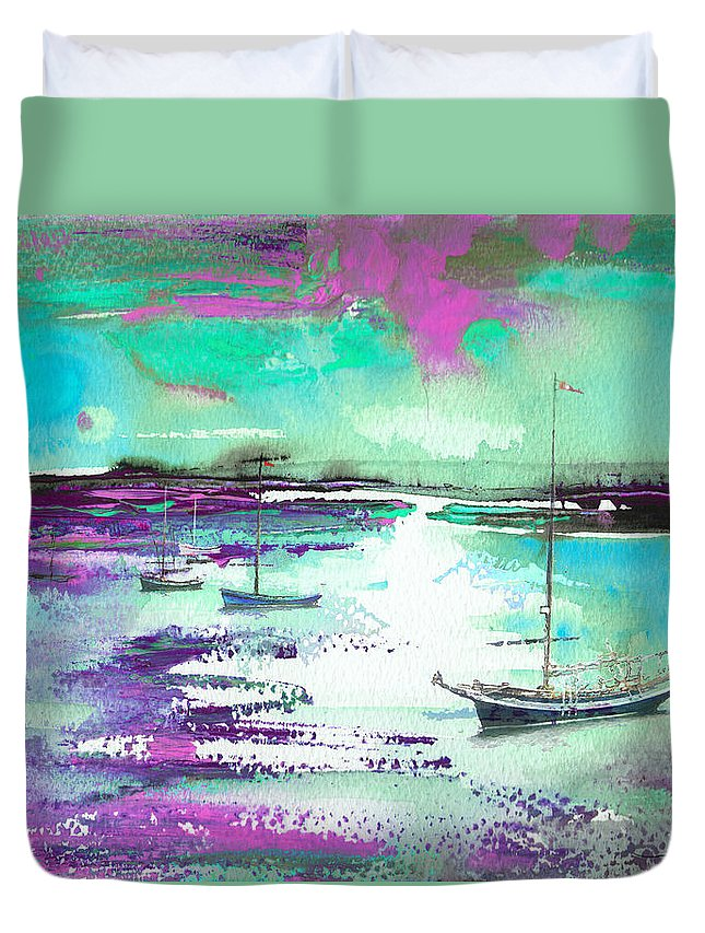 Landscapes Duvet Cover featuring the painting Early Morning 20 by Miki De Goodaboom