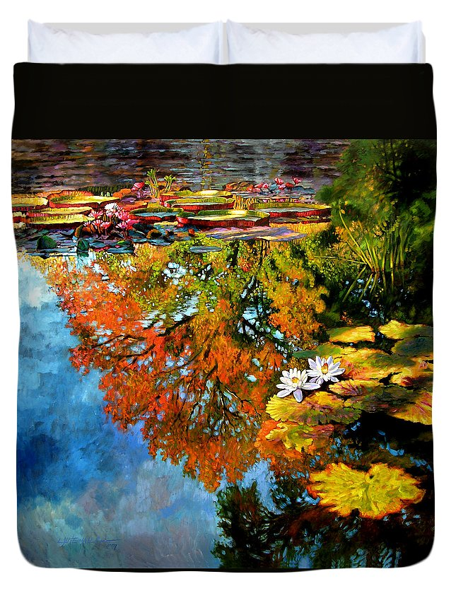 Landscape Duvet Cover featuring the painting Early Morning Fall Colors by John Lautermilch