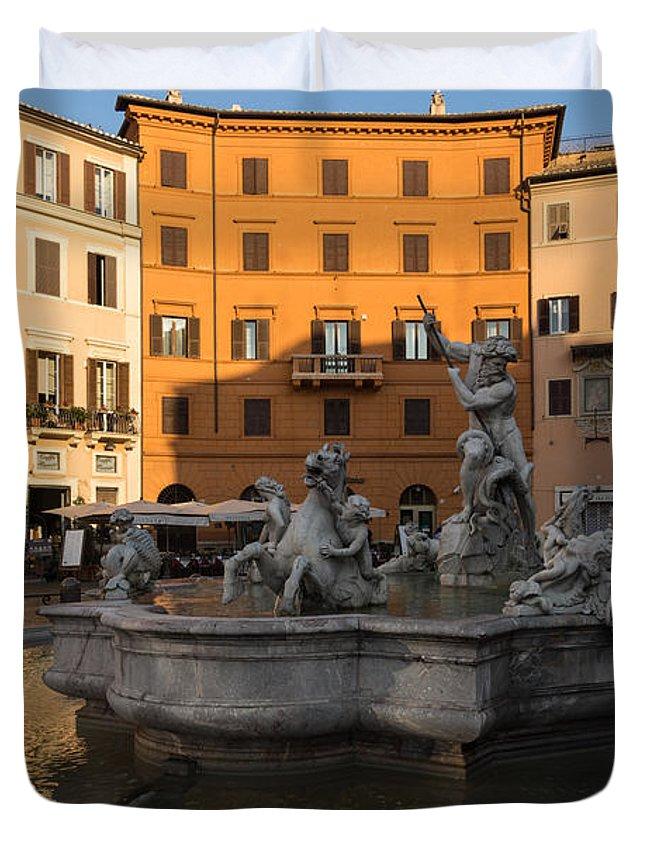 Georgia Mizuleva Duvet Cover featuring the photograph Early Morning Glow - Neptune Fountain On Piazza Navona In Rome Italy by Georgia Mizuleva