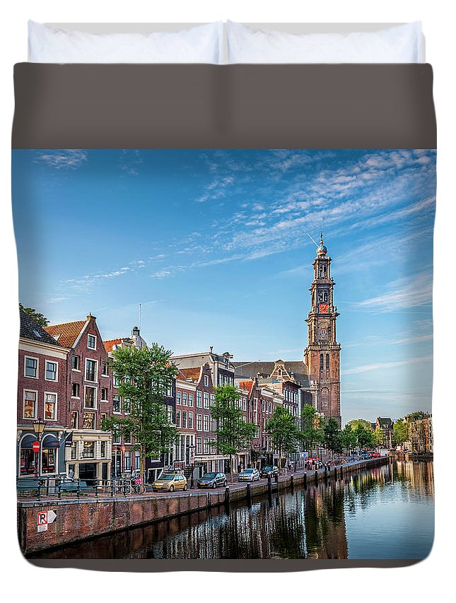 Amsterdam Duvet Cover featuring the photograph Early Morning In Amsterdam With Canal by Yves Gagnon