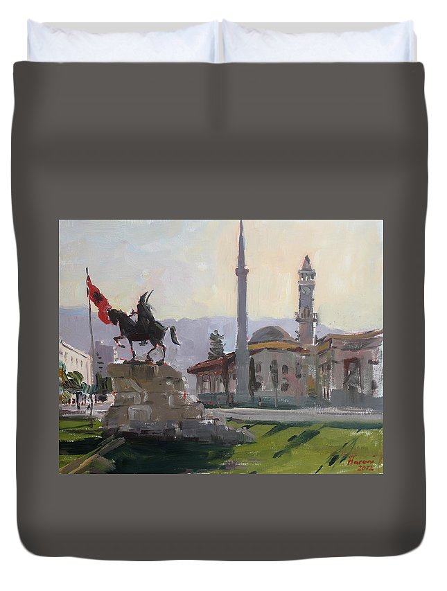 Tirana Duvet Cover featuring the painting Early Morning In Tirana by Ylli Haruni