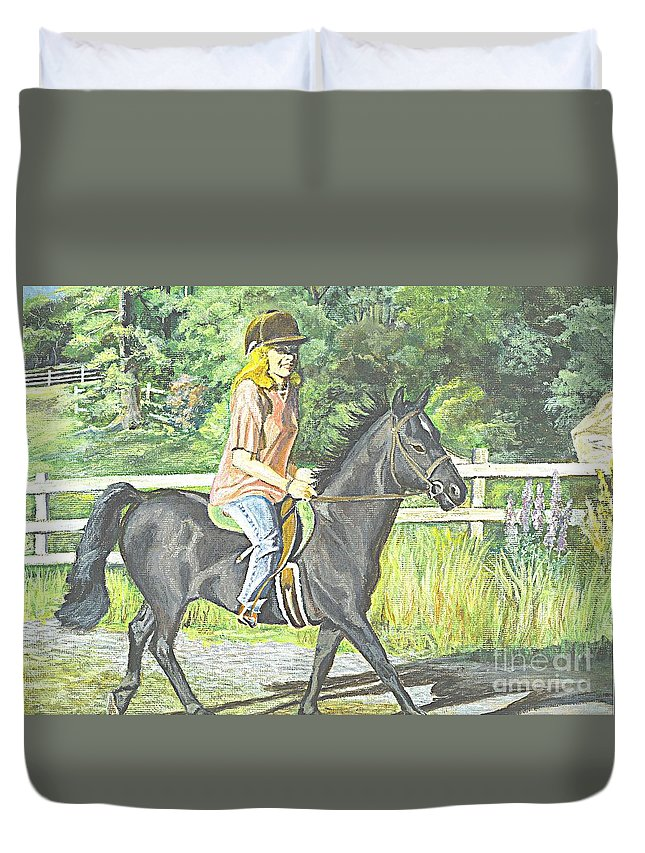 Horse Duvet Cover featuring the painting Early Morning Jaunt by Carol Wisniewski