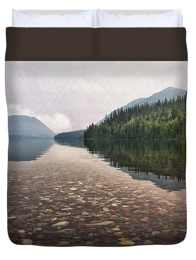 Landscape Duvet Cover featuring the digital art Early Morning On Lake Mcdonald II by Sharon Foster