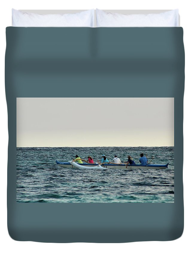 Boat Duvet Cover featuring the photograph Early Morning Outing by Carolyn Ricks