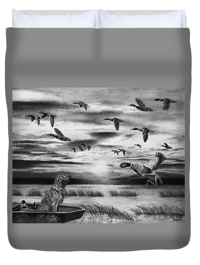Early Morning Duvet Cover featuring the drawing Early Morning by Peter Piatt