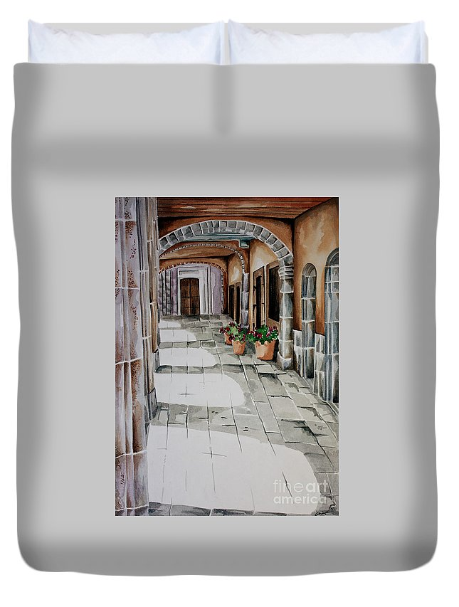 Mexican City Painting Duvet Cover featuring the painting Early Morning San Miguel by Kandyce Waltensperger