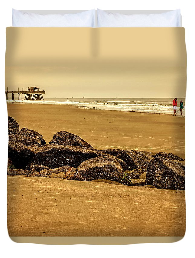 Tybee Island Duvet Cover featuring the photograph Early Morning Tybee Beach by Diana Powell