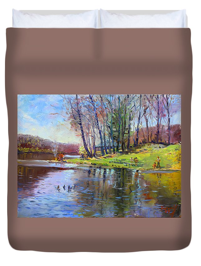 Landsape Duvet Cover featuring the painting Early Spring In Bear Mountain by Ylli Haruni