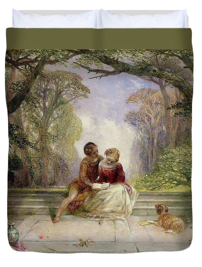 Early Summer By Alfred Woolmer (1805-92) Duvet Cover featuring the painting Early Summer by Alfred Woolmer