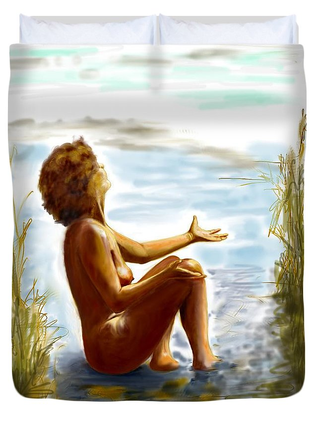 Lady Duvet Cover featuring the digital art Early Summer In Bavaria by Helmut Rottler