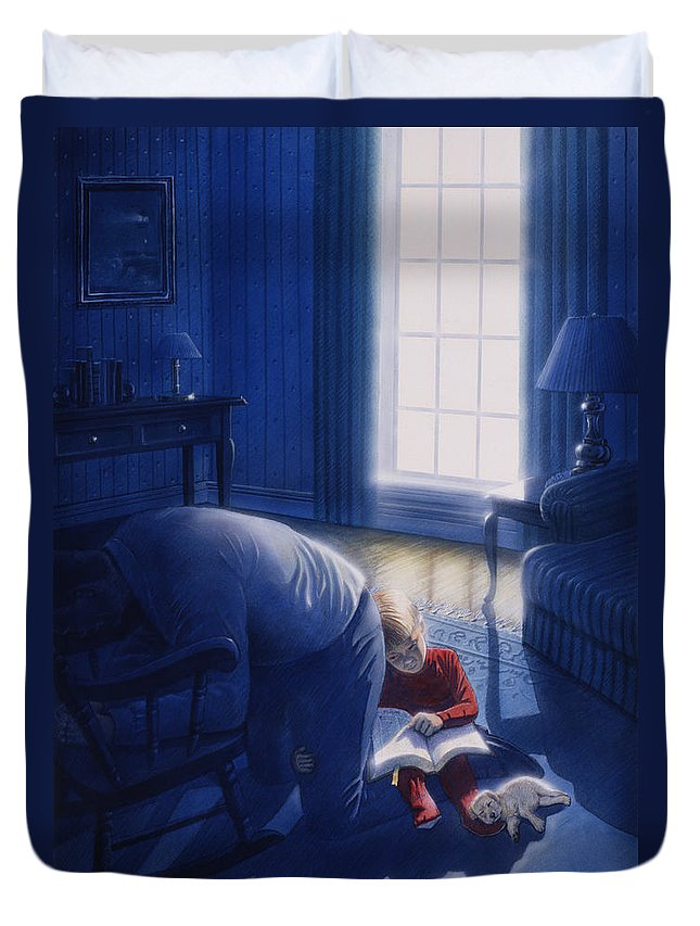 Devotion Duvet Cover featuring the painting Early Will I Seek Thee by Cliff Hawley