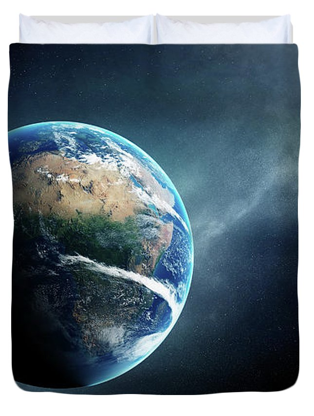 Earth Duvet Cover featuring the digital art Earth And Moon Space View by Johan Swanepoel