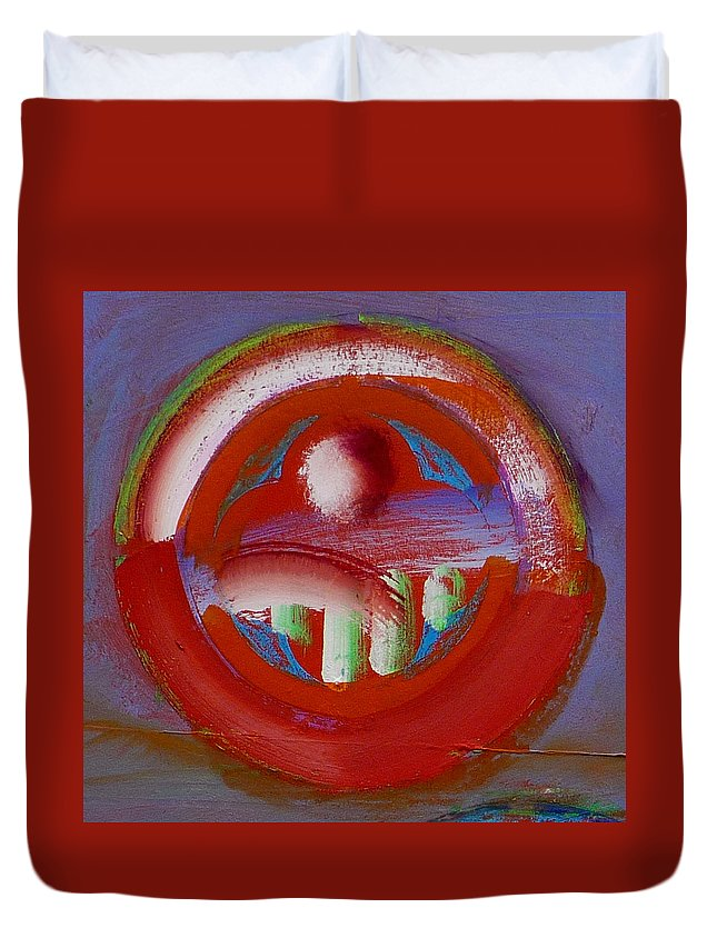 Love Duvet Cover featuring the painting Earth Button by Charles Stuart