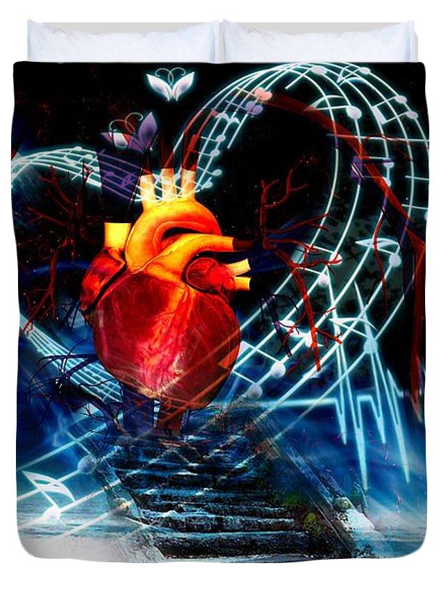 Earth Duvet Cover featuring the digital art Earth Heart by LDS Dya