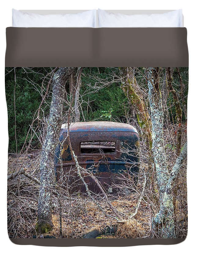Old Truck Duvet Cover featuring the photograph Earth Reclaims A Truck by Jim Durfee