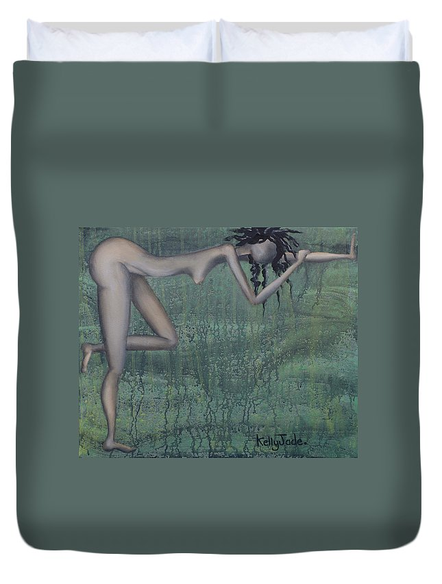 Earth Duvet Cover featuring the painting Earth Woman by Kelly Jade King
