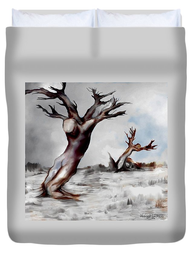 Trees Soul Nature Sky Storm Freedom Duvet Cover featuring the mixed media Earthbound by Veronica Jackson