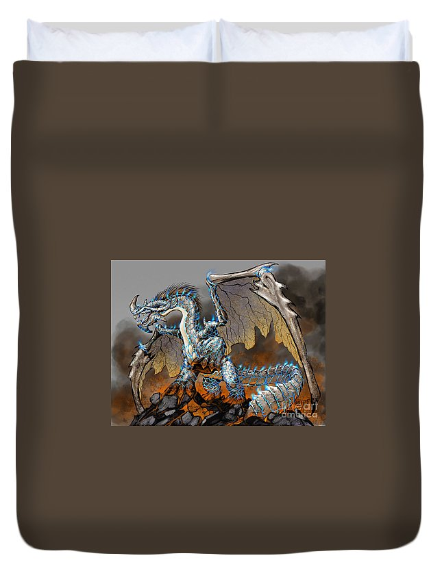 Fantasy Duvet Cover featuring the digital art Earthquake Dragon by Stanley Morrison