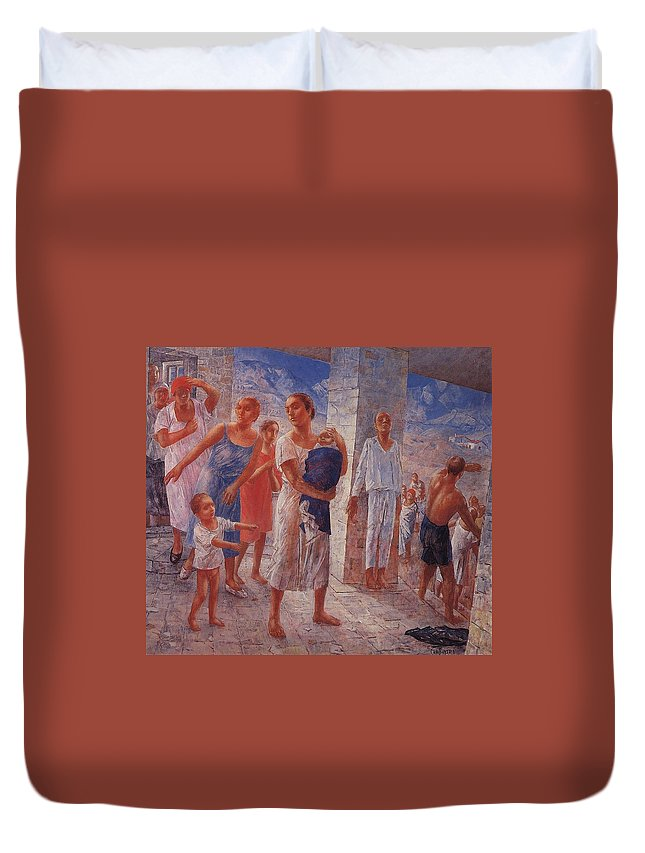 Girl Duvet Cover featuring the painting Earthquake In Crimea Kuzma Petrov-vodkin - 1927-1928 by Kuzma Petrov-Vodkin