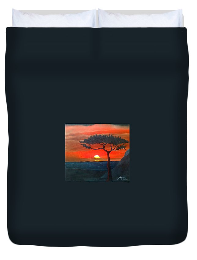 Africa! Duvet Cover featuring the painting East African Sunset by Portland Art Creations