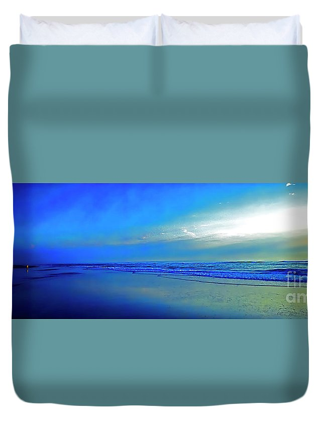 East Duvet Cover featuring the photograph East Coast Florida Daytona Beach Morning Walkers  by Tom Jelen