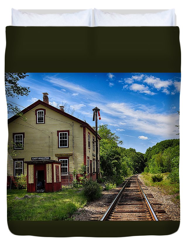 Nature Duvet Cover featuring the photograph East Kingston Station by Tricia Marchlik