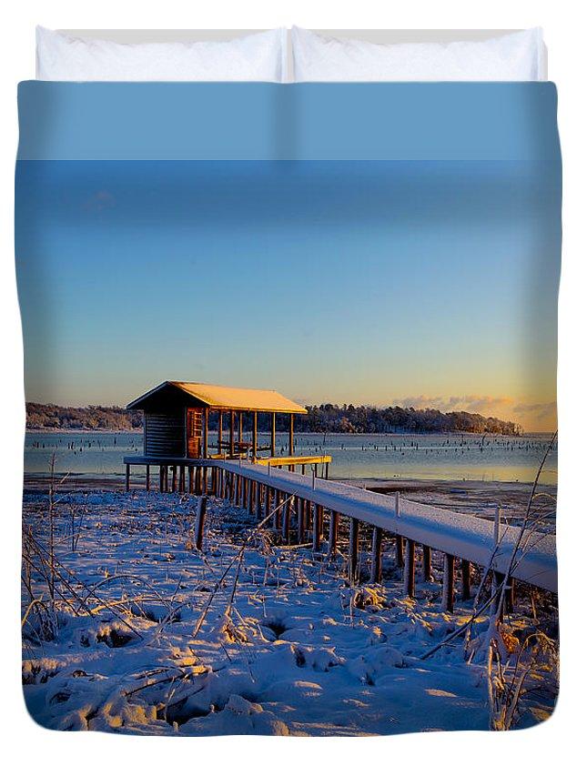 Snow Duvet Cover featuring the photograph East Texas Snow, Lake Bob Sandlin, Texas. by Elizabeth Greene