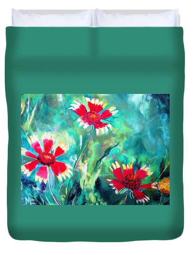 Flowers Duvet Cover featuring the painting East Texas Wild Flowers by Melinda Etzold
