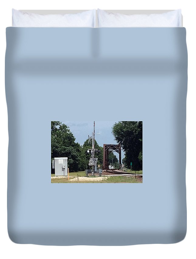 Railroad Trestle Duvet Cover featuring the photograph Eastbound Trestle by James Pinkerton