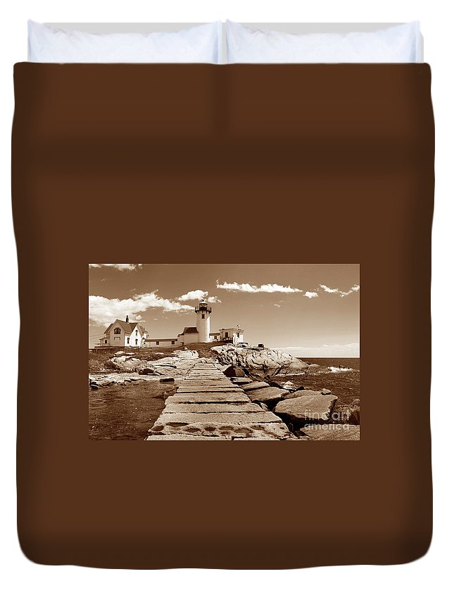 Lighthouses Duvet Cover featuring the photograph Easten Point Light In Sepia by Skip Willits