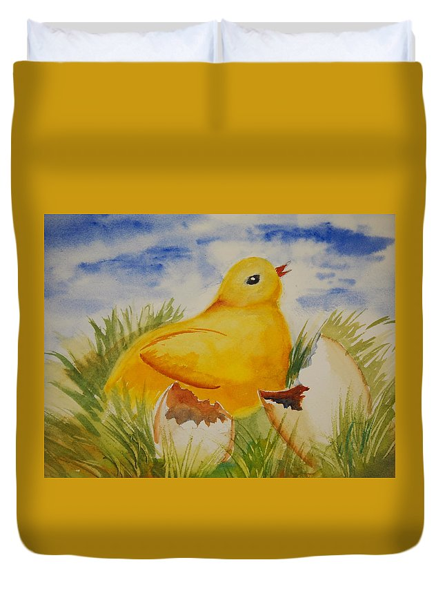 Easter Duvet Cover featuring the painting Easter Chick by Rod Stewart