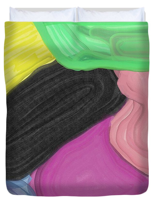 Easter Eggs Duvet Cover featuring the painting Slippers by Adam Norman