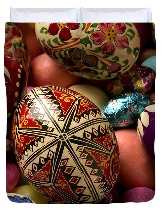 Egg Duvet Cover featuring the photograph Easter Eggs by Garry Gay
