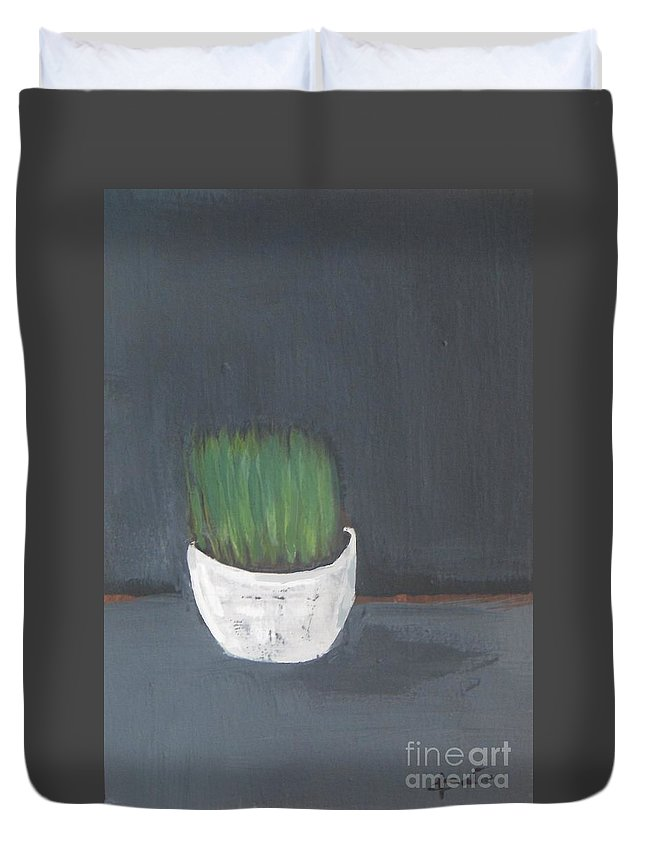 Easter Duvet Cover featuring the painting Easter Grass In A Pot by Vesna Antic