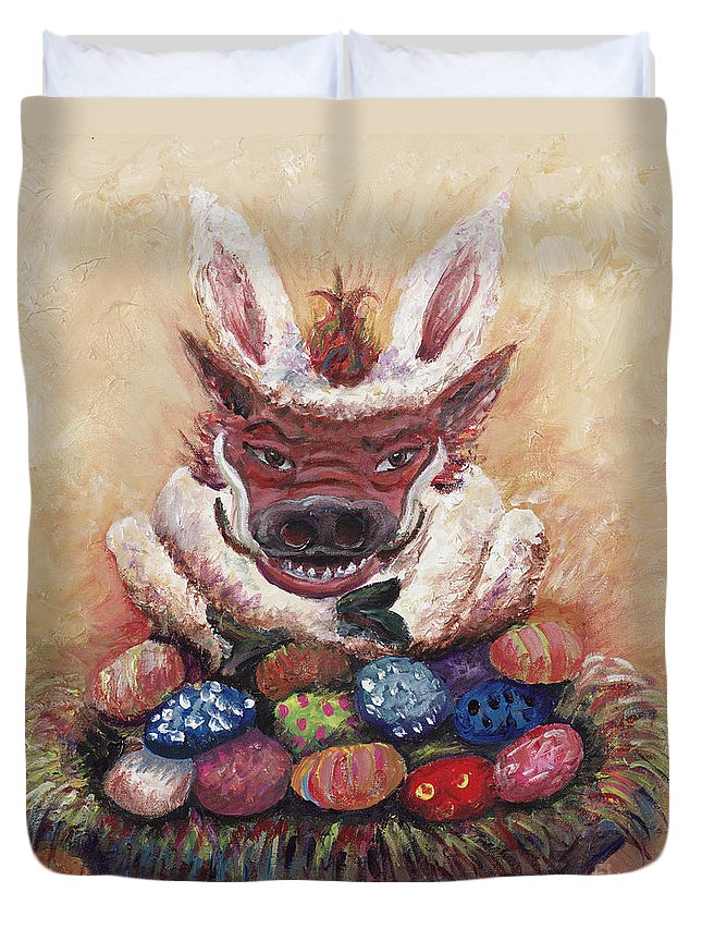 Easter Duvet Cover featuring the painting Easter Hog by Nadine Rippelmeyer