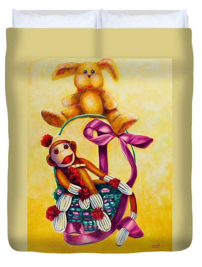 Easter Duvet Cover featuring the painting Easter Made Of Sockies by Shannon Grissom