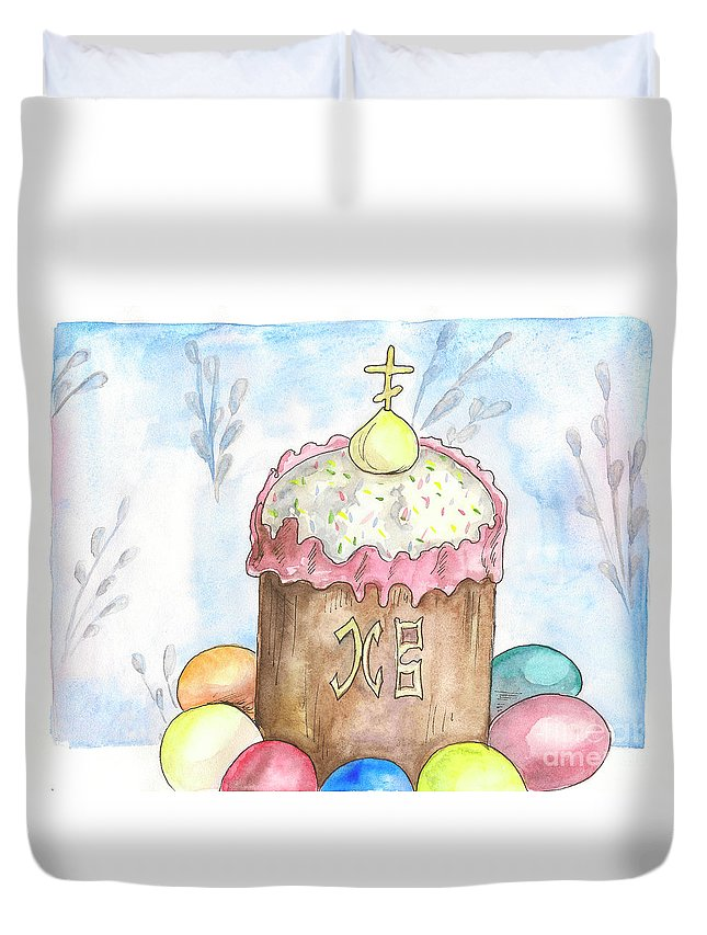 Easter Duvet Cover featuring the painting Easter by Yana Sadykova