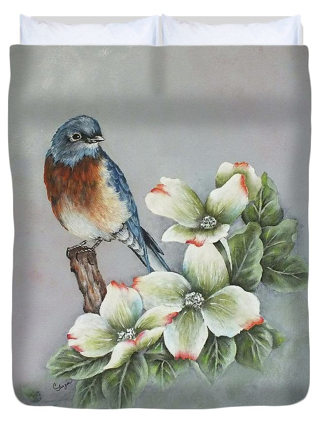 Eastern Bluebird Duvet Cover featuring the painting Eastern Bluebird And Dogwood - Acrylic Painting by Cindy Treger