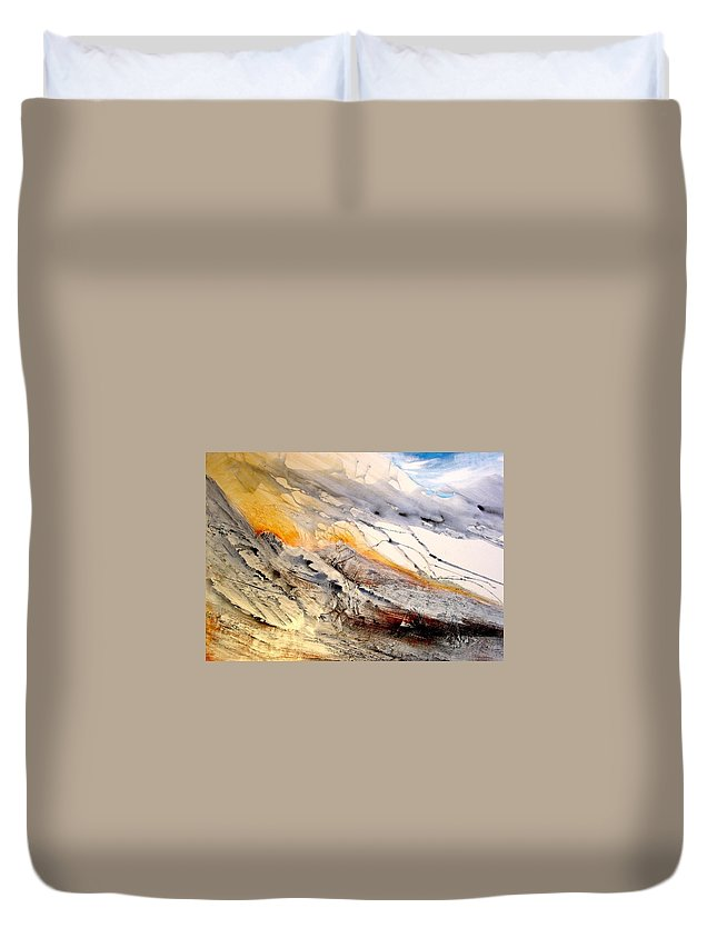 Landscape Duvet Cover featuring the painting Eastern Sierra by Paul Miller