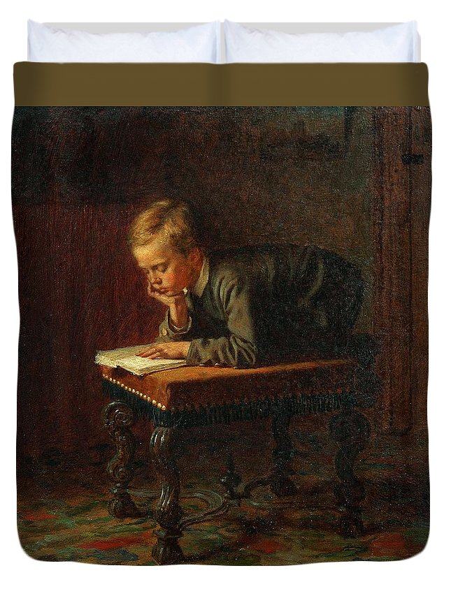 Man Duvet Cover featuring the painting Eastman Johnson - Reading Boy by Eastman Johnson