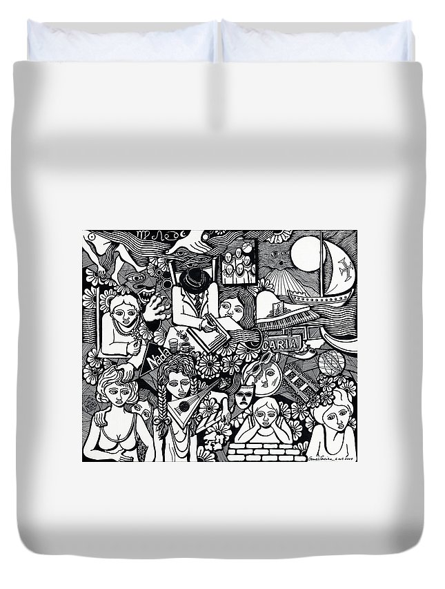 Drawing Duvet Cover featuring the drawing Eat Chocolates Child Eat Chocolates by Jose Alberto Gomes Pereira