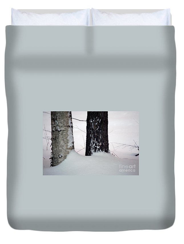 Tree Duvet Cover featuring the photograph Ebony And Ivory by Faith Harron Boudreau