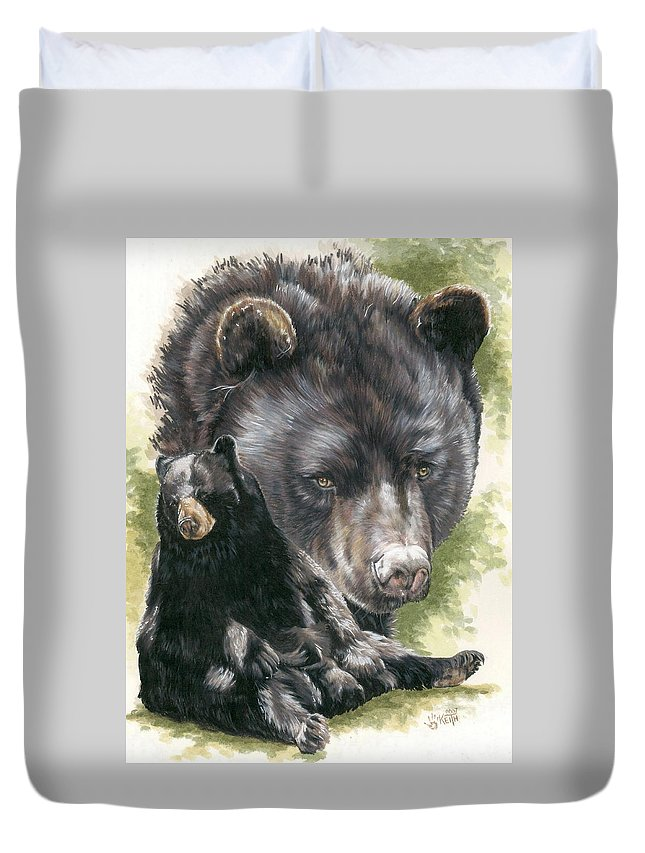Black Bear Duvet Cover featuring the mixed media Ebony by Barbara Keith